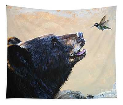 The Bear And The Hummingbird Tapestry