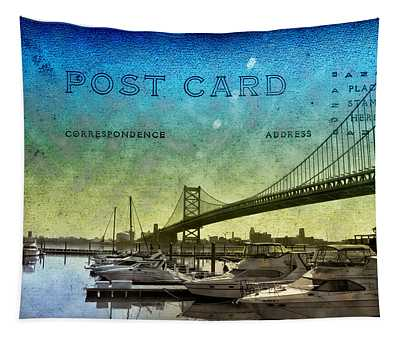 The Ben Franklin Bridge Post Card Tapestry