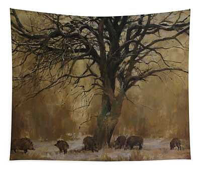 The Big Tree With Wild Boars Tapestry