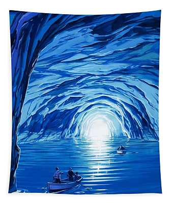 The Blue Grotto In Capri By Mcbride Angus  Tapestry