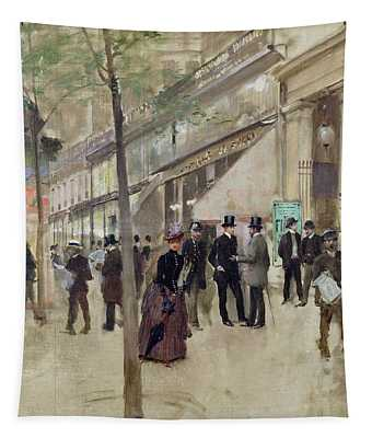 The Boulevard Montmartre And The Theatre Des Varietes Tapestry