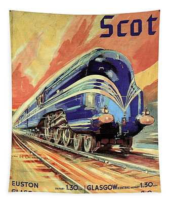 The Coronation Scot - Vintage Blue Locomotive Train - Vintage Travel Advertising Poster Tapestry
