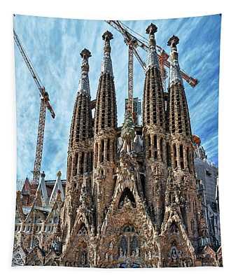 The Facade Of The Sagrada Familia Tapestry