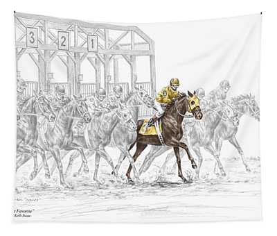 The Favorite - Thoroughbred Race Print Color Tinted Tapestry