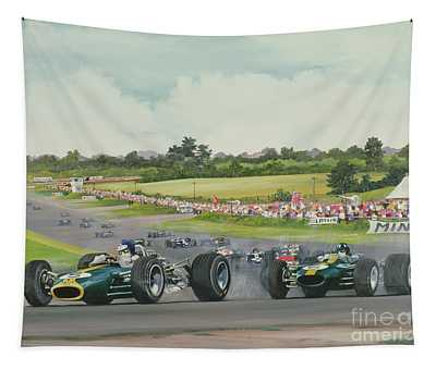 The First Lap - 1967, British Grand Prix At Silverstone Tapestry