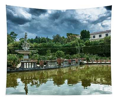 The Fountain Of The Ocean At The Boboli Gardens Tapestry