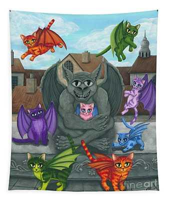 The Guardian Gargoyle Aka The Kitten Sitter Tapestry