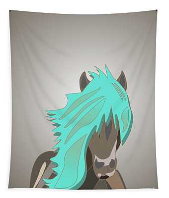 The Horse With The Turquoise Mane Tapestry