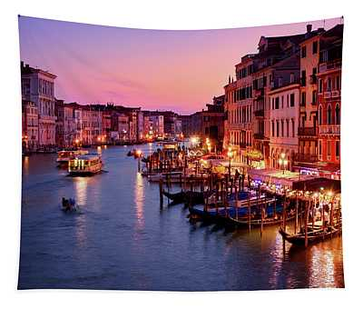 The Blue Hour From The Rialto Bridge In Venice, Italy Tapestry