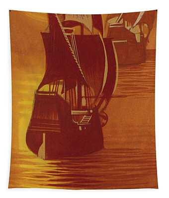 The Mayflower And The Speedwell Leave England In 1620 Tapestry