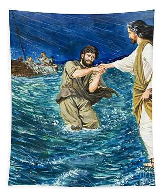 The Miracles Of Jesus Walking On Water  Tapestry