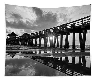 Naples Pier At Sunset Naples Florida Black And White Tapestry