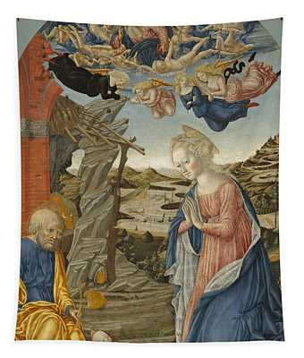 The Nativity With God The Father Surrounded By Angels And Cherubim Tapestry