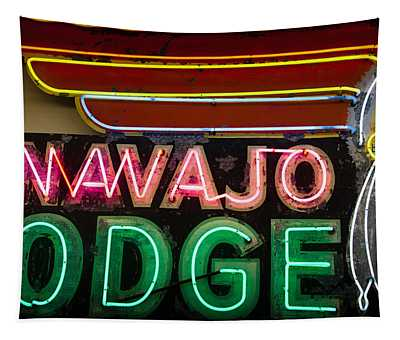 The Navajo Lodge Sign In Prescott Arizona Tapestry