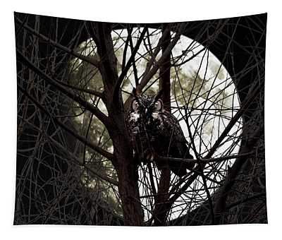 The Night Owl And Harvest Moon Tapestry