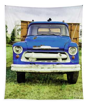 The Old Blue Farm Truck Painting Tapestry