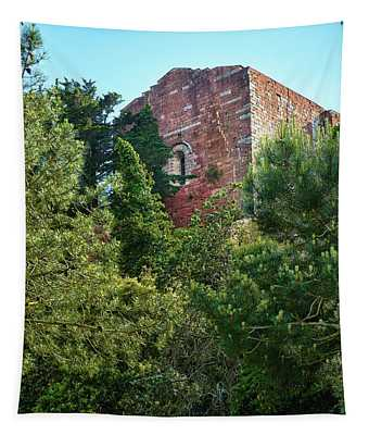 The Old Monastery Of Escornalbou Surrounded By Trees In Spain Tapestry