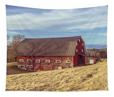 The Old Red Barn In Winter Tapestry