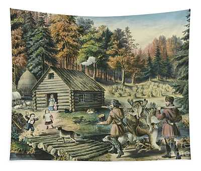The Pioneers Home On The Western Frontier, 1867  Tapestry