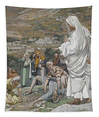 The Possessed Boy At The Foot Of Mount Tabor Tapestry
