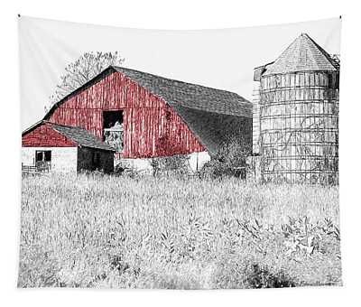 The Red Barn - Sketch 0004 Tapestry