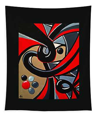 Red And Black Abstract Art Painting Tapestry
