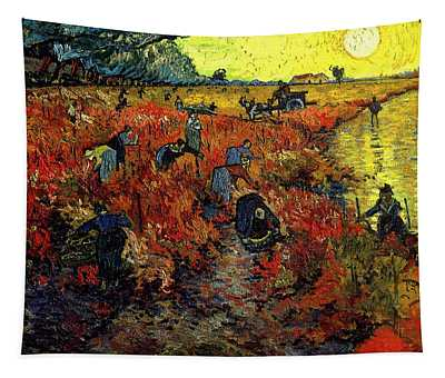 Tapestry featuring the painting The Red Vineyard At Arles by Van Gogh