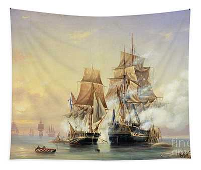 The Russian Cutter Mercury Captures The Swedish Frigate Venus On 21st May 1789 Tapestry