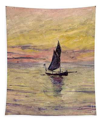 The Sailing Boat Evening Effect Tapestry