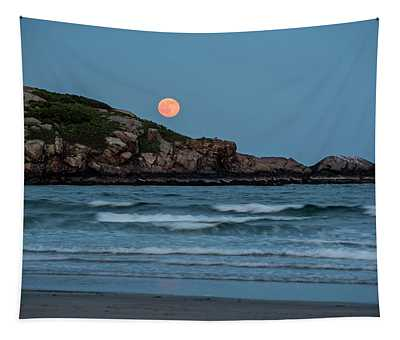 The Strawberry Moon Rising Over Good Harbor Beach Gloucester Ma Island Tapestry