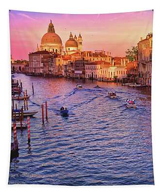 The Sun Is Setting In Venice Tapestry