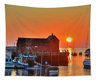 The Sun Rising By Motif Number 1 In Rockport Ma Bearskin Neck Tapestry