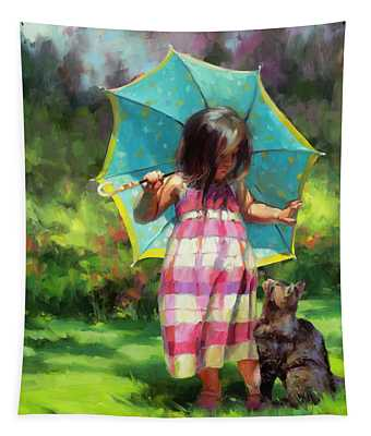 The Teal Umbrella Tapestry