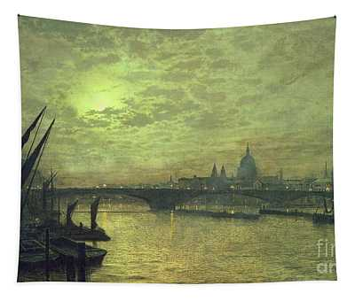 The Thames By Moonlight With Southwark Bridge Tapestry