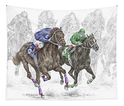 The Thunder Of Hooves - Horse Racing Print Color Tapestry