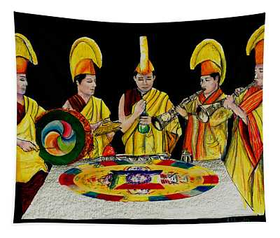 The Tibetan Monks At Lilydale Assembly Tapestry