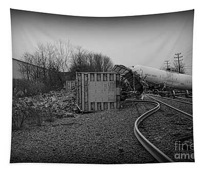 The Train Wreck In Black And White Tapestry