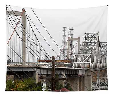 The Two Carquinez Bridges At Crockett And Vallejo California . Aka Alfred Zampa Memorial Bridge . 7d8919 Tapestry