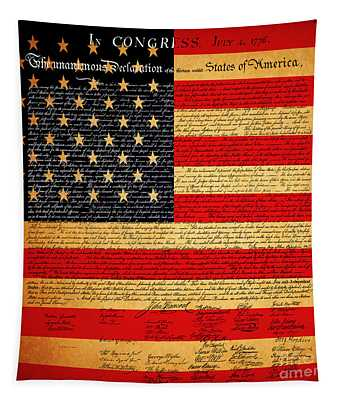 The United States Declaration Of Independence - American Flag - Square Tapestry