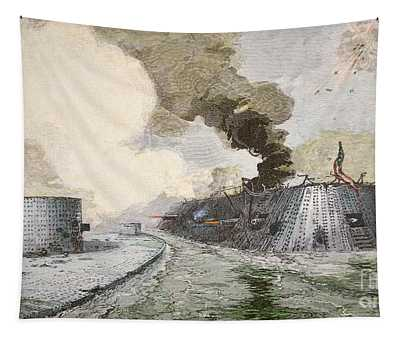 The Uss Monitor Fighting The Css Merrimack At The Battle Of Hampton Broads During The Civil War Tapestry