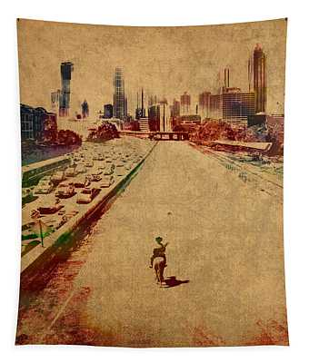 The Walking Dead Watercolor Portrait On Worn Distressed Canvas No 2 Tapestry