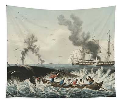 The Whale Fishery Attacking A Sperm Whale And Cutting In Tapestry