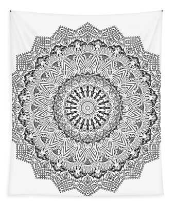 Tapestry featuring the digital art The White Mandala No. 3 by Joy McKenzie