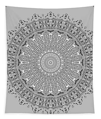 Tapestry featuring the digital art The White Mandala No. 4 by Joy McKenzie