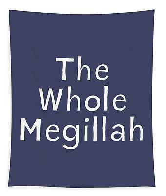 The Whole Megillah Navy And White- Art By Linda Woods Tapestry