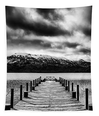 Landscape With Lake And Snowy Mountains In The Argentine Patagonia - Black And White Tapestry