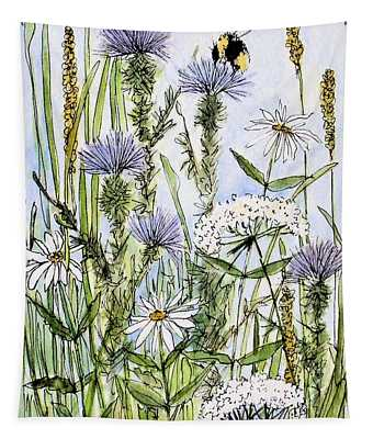 Thistles Daisies And Wildflowers Tapestry