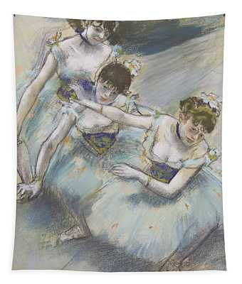 Three Dancers In A Diagonal Line On The Stage Tapestry
