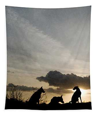 Three Dogs At Sunset Tapestry