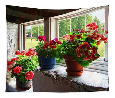 Three Pots Of Geraniums On Windowsill Tapestry